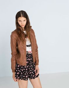 BSK basic imitation leather jacket. Discover this and many other products at Bershka with new products every week