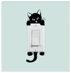 Cat Light Switch Removable Wall Decal