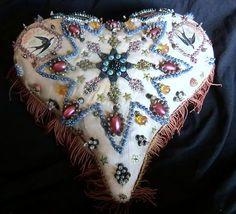 WWI Sweet Heart Silk Forget-Me-Not Beaded Heart