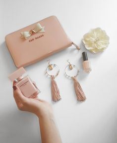 Nude color, our favourite products! #nude #nails #earrings #tedbaker #narcisorodriguez #tassels #flowers #spring #nailpolish #bow #woman #women #style #fashion #welove #pink #sugar #gold #ganesh #style #greece