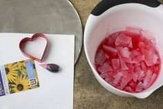 Make these beautiful seed paper hearts from recycled paper. Give them as Valentines with the printable to share your flowers with friends. Valentine Crafts For Kids, Valentines, Valentine Ideas, Kids Crafts, Diy Recycle, Recycling, How To Make Glue, Seed Paper, Paper Hearts