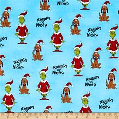 How The Grinch Stole Christmas Naughty Or Nice Blue from @fabricdotcom  Designed by Dr. Seuss Enterprises and licensed to Robert Kaufman, this cotton print is perfect for quilting and home decor accents. Colors include blue, black, red, shades of green, shades of blue, magenta, orange, shades of yellow, shades of brown, beige and grey.