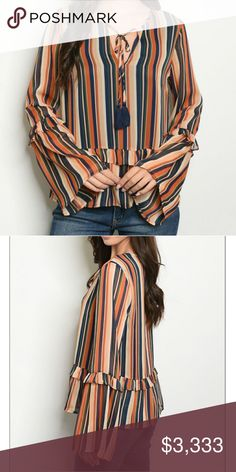 "Tan Blue Stripe Bell Sleeve Top Long sleeve lace up detail striped tunic blouse. NO stretch   Fabric Content: 100% POLYESTER Description: L: 25"" B: 36"" W: 38"" Tops Blouses"