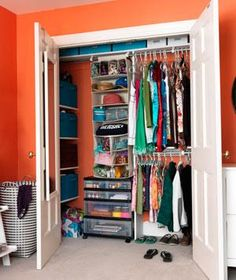 Caitie's once-overstuffed closet benefits from easy-grab bins and a roomy hanging organizer for hats, purses, and other accessories. Crafts and notebooks are stored in a roll-out cart.