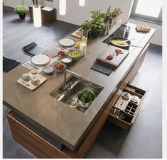 The heart of the kitchen from TEAM 7 is the infinitely height-adjustable cook . - The heart of the kitchen from TEAM 7 is the infinitely height-adjustable cooking island. Modern Kitchen Island, Open Plan Kitchen, Modern Kitchen Design, Interior Design Kitchen, New Kitchen, Kitchen Dining, Kitchen Soffit, Kitchen Walls, Green Kitchen