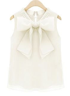 Beige Sleeveless Bow Organza Blouse - Sheinside.com
