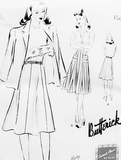 72 best vintage skirts and pants patterns images vintage sewing Women Sweater Patterns 1940s skirt pattern quick n easy butterick 9402 six gored skirt figure flattering waist 36 vintage