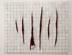 Adriana Varejao, Parede com incisoes a la fontana, 2011, oil on canvas and polyurethane on aluminum and wood support, Istanbul Biennial