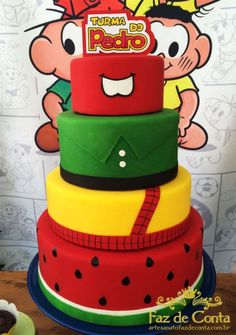 bolo turma da monica                                                                                                                                                                                 Mais Pretty Cakes, Cute Cakes, Beautiful Cakes, Bolo Fake Eva, Cake Pops, Bolo Fack, Naked Cakes, Budget Planer, Character Cakes