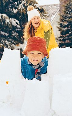 Build a Fort - Build a fort. Use sand buckets, loaf pans, and cut-up empty milk cartons to make a cool snow castle.
