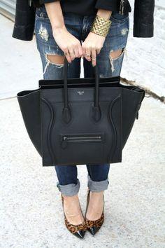 Closet Essentials: Ripped boyfriend jeans, Celine tote, Jimmy Choo Leopard heels, Chanel Vintage Earrings