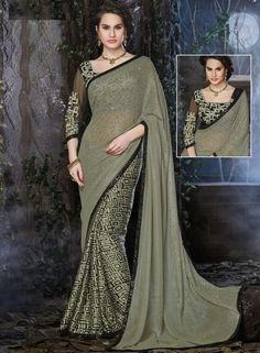 Mehendi Green latest ladies party wear sari with blouse D15196