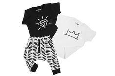 B&W PACK #T-shirt #pants #crown #diamond #kids #fashion #style #baby #toddler #black #white #comfort #print #cotton #cool