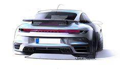 2021 Porsche 911 Turbo S - GT Silver Metallic - HD Pictures, Videos, Specs & Information - Dailyrevs 911 Turbo S, Porsche 911 Turbo, New Porsche, Porsche Cars, Car Design Sketch, Car Sketch, Automotive Design, Auto Design, Porsche Design