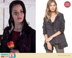Alison's black hooded coat on Pretty Little Liars.  Outfit Details: http://wornontv.net/33671/ #PLL
