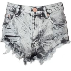 Grey Acid Wash Frayed Denim Hotpants ($43) ❤ liked on Polyvore featuring shorts, bottoms, pants, short, grey, cut off denim shorts, ripped high waisted shorts, denim shorts, short shorts and high-waisted shorts