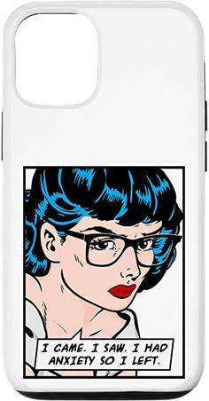 Amazon.com: iPhone 12/12 Pro I Came I Saw I Had Anxiety So I Left Pop Art Girl Quote Case Samsung Galaxy Gift, Samsung Cases, Vintage Comic Books, Vintage Comics, Feminism Quotes, Pop Art Girl, Retro Humor, Text Quotes, Cool Phone Cases