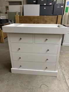 Painted chest of drawers with an oak top and detachable baby changing table. Painted to match Farrow and Ball. Based in St Ives, Cambridgeshire. Nationwide delivery.
