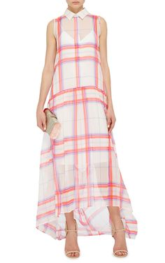 MSGM   silk   plaid reminiscent of a madras   crisp collar   white slip of a lining   high low   sleeveless   smart, sweet, summer on your shoulders, proportions spot on   silk = dressy   plaid = laid back