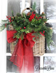 Farmhouse Christmas Home Tour Hanging Christmas door basket Dollar Tree Christmas, Christmas Porch, Outdoor Christmas, Rustic Christmas, Christmas Wreaths, Christmas Crafts, Christmas Decorations, Christmas Ornaments, Holiday Decor
