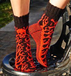 fair isle knit flame socks