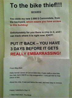 The Smug Thief Response   The 26 Funniest Responses To Passive AggressiveNotes