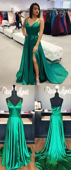 simple straps green long prom dress, 2018 prom dress, prom dress with side slits, party dress P2889