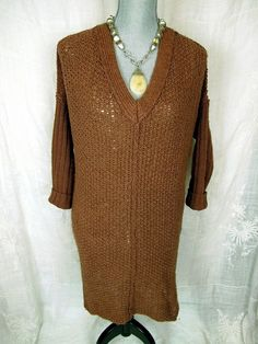 Free People Anthropologie Sweater Dress S M Brown Solid V Neck Knit Pullover Top #Anthropologie #VNeck