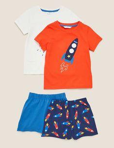 2pk Pure Cotton Patterned Short Pyjama Sets (0-7 Yrs) | M&S Suit Shop, Man Shop, Cami Set, Brand Collection, Bedding Shop, Pajama Shorts, Patterned Shorts, Pajama Set, Lounge Wear