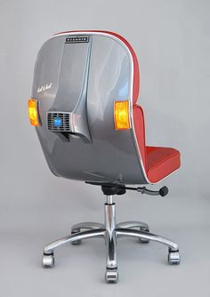 I need one :) The perfect swivel chairs for the Vespa scooter fans! Made by Bel & Bel(Barcelona), these chairs are made from upcycled original pieces of the legendary Italian scooter Vespas from the Beautiful work ! Moto Vespa, Scooters Vespa, Vespa Motorbike, Colorful Chairs, Cool Chairs, Italian Scooter, Car Part Furniture, Furniture Design, Office Furniture