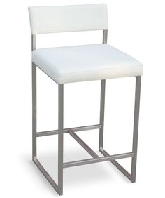 A modern, counter-height stool with an architectural-inspired stainless steel frame and an upholstered seat and back. Clean lined, modern, and durable. Features - Graph collection - Bumpers on the bot