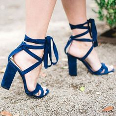 Comfortable Midnight Blue Strappy Sandals Chunky Heel Lace up Velvet Heels you best choice for Party, Night club, Ball, Anniversary -TOP Design by FSJ Stilettos, Stiletto Heels, Pumps, Crazy Shoes, Me Too Shoes, Shoe Boots, Shoes Heels, Mode Shoes, Outfits Casual