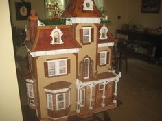 This is my Beacon Hill Doll House Beacon Hill Dollhouse, Barbie Furniture, Miniature Dolls, Doll Houses, Dollhouse Miniatures, Gingerbread, Painting, Art, Fairy Houses