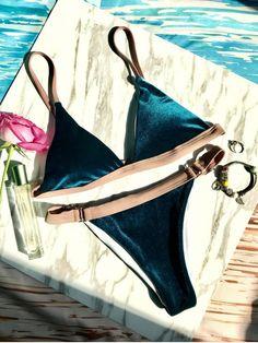 Buckles Velvet High Cut Bikini - DEEP BLUE S Mobile