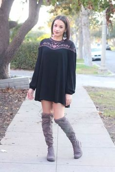 cbe9fee2324 Black Floral Dress and OTK Boots