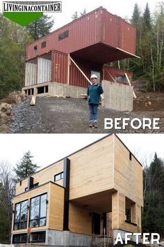 Tiny House Cabin, Tiny House Living, Tiny House Design, Modern House Design, Shipping Container Home Designs, Container Design, Shipping Container Cabin, Shipping Containers, Building A Container Home