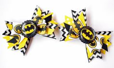 Set of Batman Super Hero Pig Tail Hair Bows by PricelessBaby on Etsy https://www.etsy.com/listing/163094119/set-of-batman-super-hero-pig-tail-hair