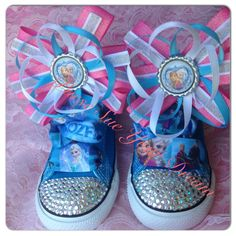 Frozen Rhinestone Converse - Elsa and Anna - Frozen Party - Frozen Birthday - Crystals - Bling Shoes - Infant/Toddler/Youth - on Etsy, $25.00