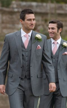 Nice grey - pocket square and tie will have to match bridesmaid peach/coral color. Thinking mismatched ties in hues of peach/coral that looks good together and doesn't clash