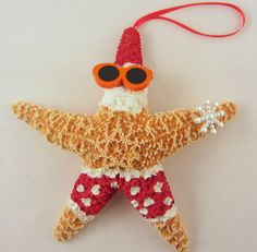 Starfish Christmas Ornament - Beach Themed Santa Ornament