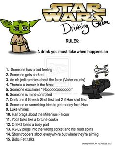 Star Wars Drinking Game - Star Wars Funny - Funny Star Wars Meme - - Star Wars Drinking Game The post Star Wars Drinking Game appeared first on Gag Dad. Movie Drinking Games, Drinking Games For Parties, Star Wars Love, Star War 3, Star Trek, Amour Star Wars, Nerd Love, The Force Is Strong, Bad Feeling