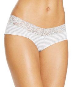 Jenni by Jennifer Moore Cotton Wide Lace Hipster, Only at Macy's - Grey/White Stripe XXL
