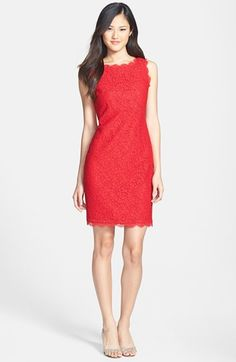 $148, Adrianna Papell Boatneck Lace Sheath Dress Red 12p. Sold by Nordstrom. Click for more info: https://lookastic.com/women/shop_items/58377/redirect