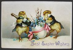 Chicks in Tuxedo with Champagne Easter Postcard