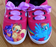 Hand painted Children My Little Pony shoes, Twilight Sparkle, Applejack, Rainbow Dash Any size, color, character and design on Etsy, $67.60