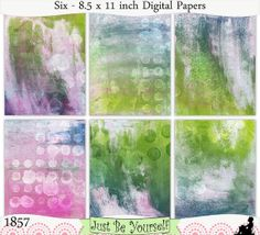 Instant Download Grungy Pink Blue and Green by JustBYourself, $3.00