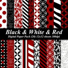 Black and White and Red Digital Paper Pack by DelightfulDigitals, $4.00