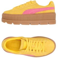 Fenty Puma By Rihanna Sneakers (6,560 THB) ❤ liked on Polyvore featuring shoes, sneakers, yellow, puma creeper, leather low top sneakers, yellow shoes, leather sneakers and puma shoes