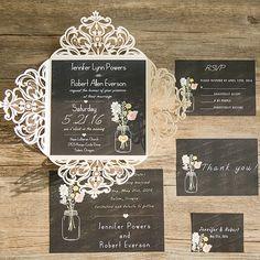 ivory laser cut chalkboard masion jar rustic wedding invitations EWWS089