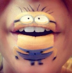 Any plans for Halloween yet? Check out this step-by-step guide to creating fantastic MINION lip art design by Laura Jenkinson! Lip Art, Lipstick Art, Lipsticks, Lipstick Designs, Lip Designs, Makeup Art, Lip Makeup, Makeup Brushes, Makeup Ideas